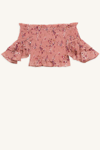 LAYLA SHIRRED TOP in colour ROSE SMOKE