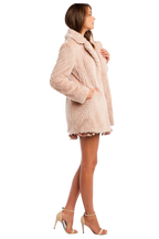 FAUX FUR MIDI COAT in colour SHELL