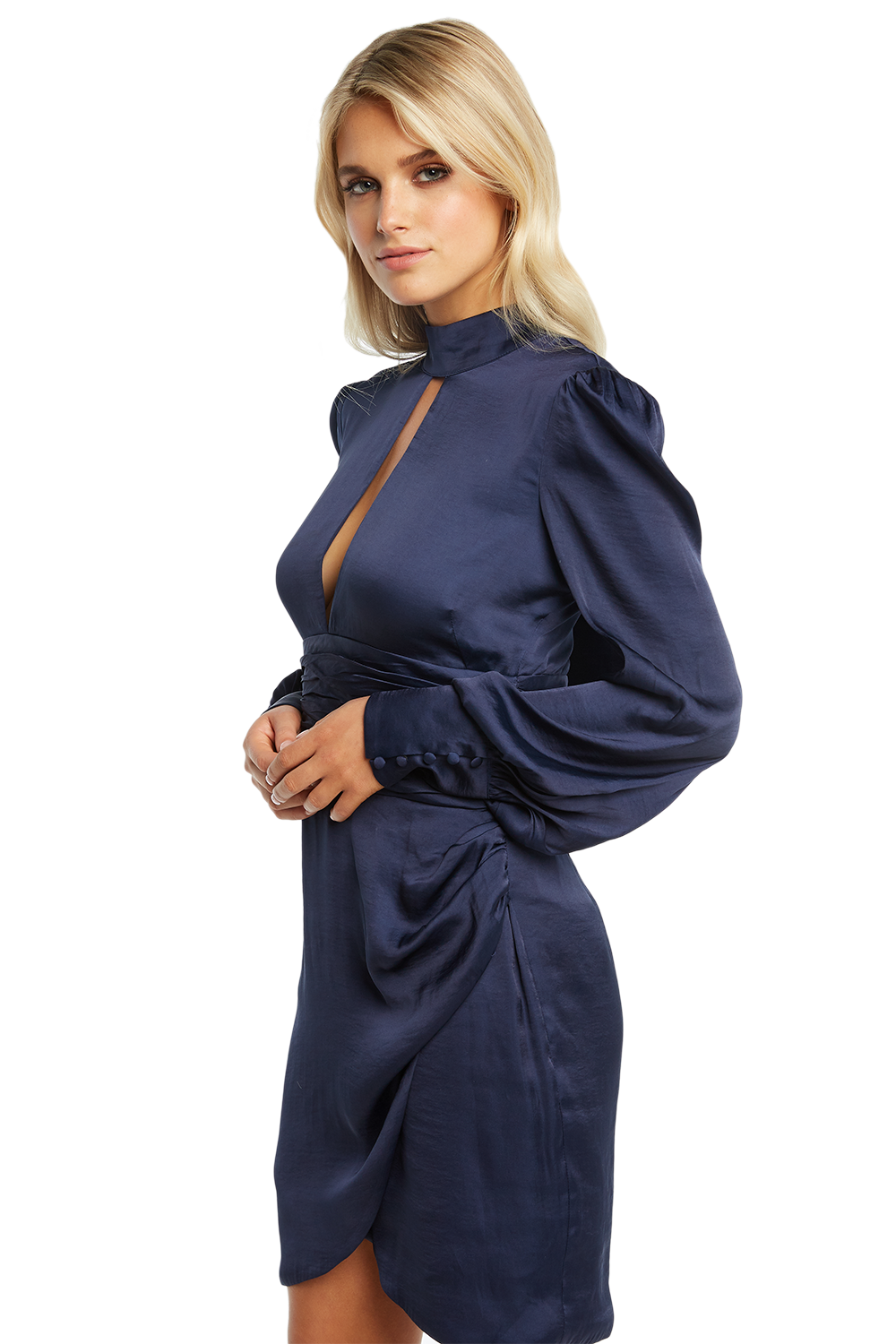 LOUISE TIE DRESS in colour ECLIPSE