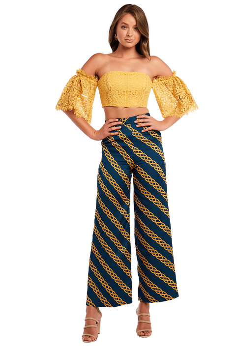 LALA OFF SHOULDER TOP in colour MISTED YELLOW
