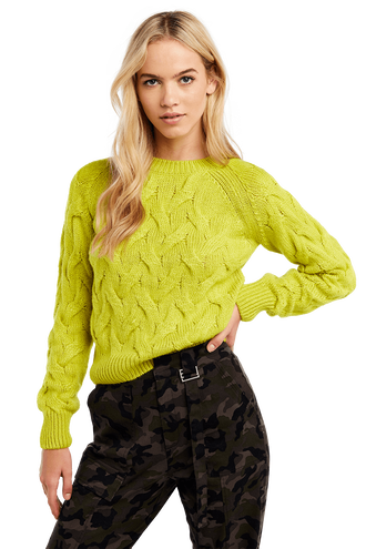 BRAID STITCH KNIT in colour JASMINE GREEN