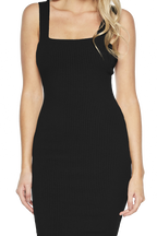 MIMI RIB DRESS in colour CAVIAR