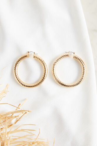 SIDE CUT HOOP EARRING in colour GOLD EARTH