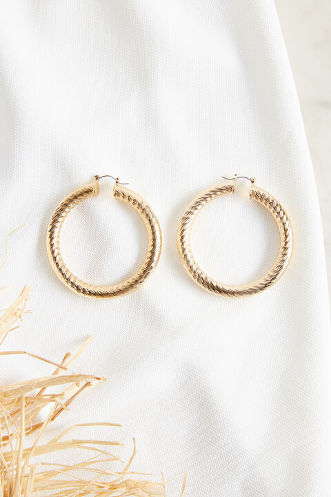 SIDE CUT HOOP EARRINGS in colour GOLD EARTH