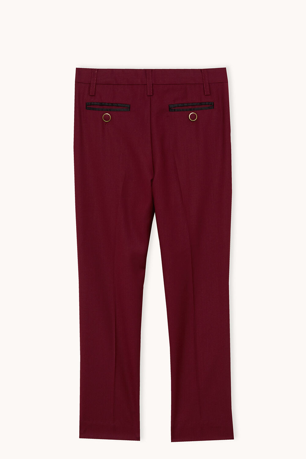 junior boy tapered suit pant in colour BURGUNDY