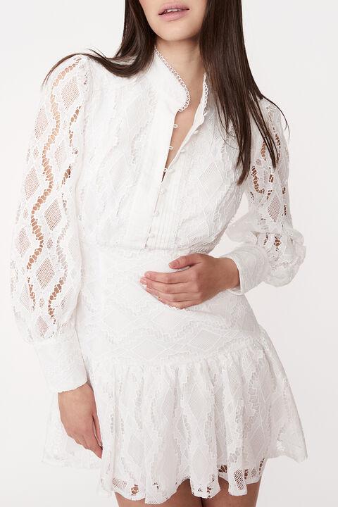 REMY LACE DRESS in colour CLOUD DANCER