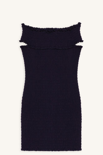 STACE SHIRRED DRESS in colour PEACOAT