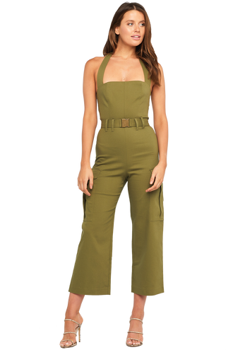 HALTER NECK JUMPSUIT in colour DUSKY GREEN