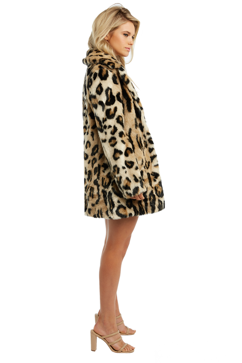 LEOPARD FAUX FUR COAT in colour DESERT MIST
