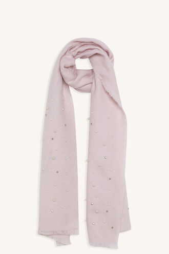 DIAMANTE & PEARL SCARF in colour PINK CARNATION