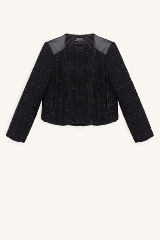 JET BOUCLE BIKER JACKET in colour JET BLACK