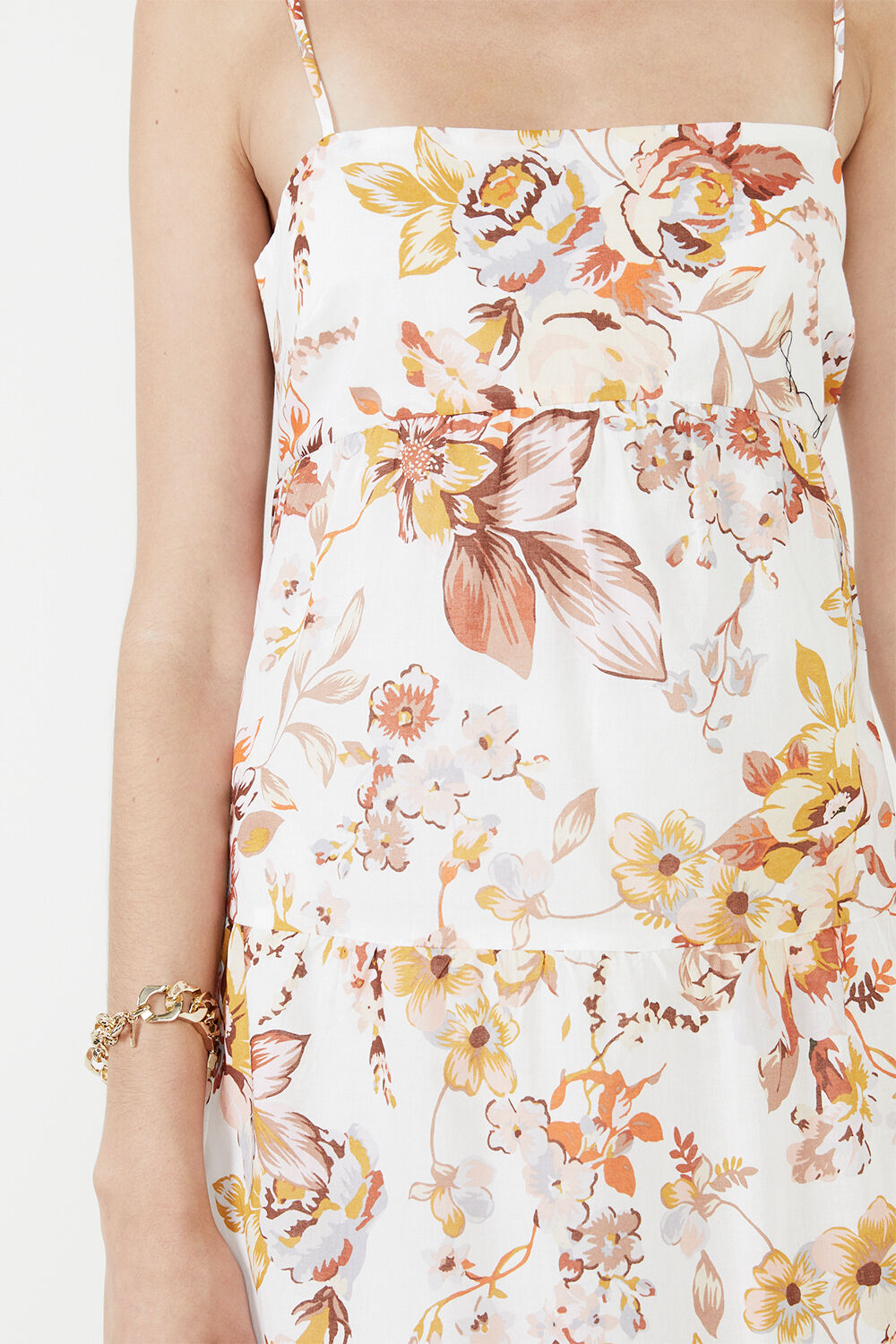 FLORAL FLOW MAXI DRESS in colour BRIGHT WHITE