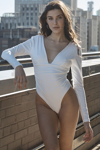ALI LS BODYSUIT in colour BRIGHT WHITE