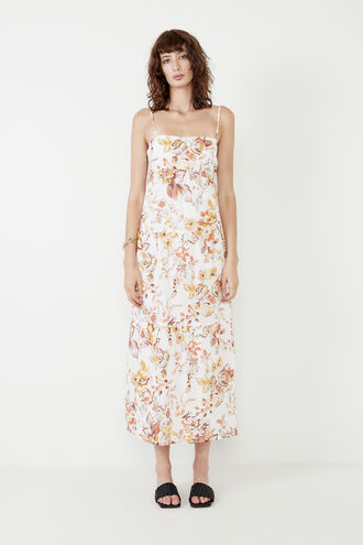 FLORAL FLOW DRESS in colour BRIGHT WHITE