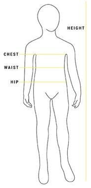 Bardot Junior size guide illustration