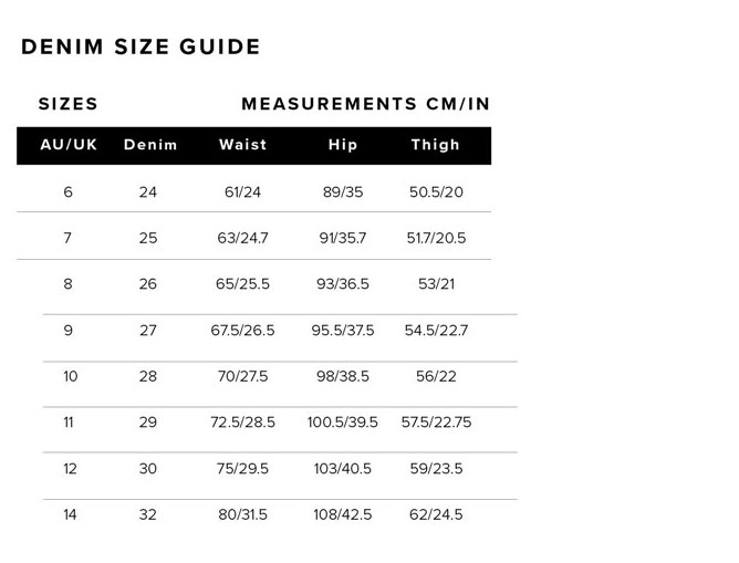 Bardot Womens Denim Size Guide Measurements